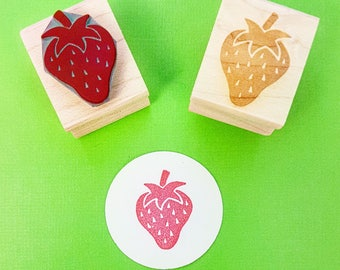 Strawberry Rubber Stamp - Juicy Strawberry Rubber Stamp - Gift for Foodie - Jam Making - Jam Jar Label - Fruit Stamper - Berry - Fruit Stamp