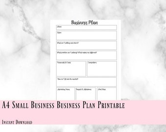 A4 Printable Small Business Plan, Instant Download