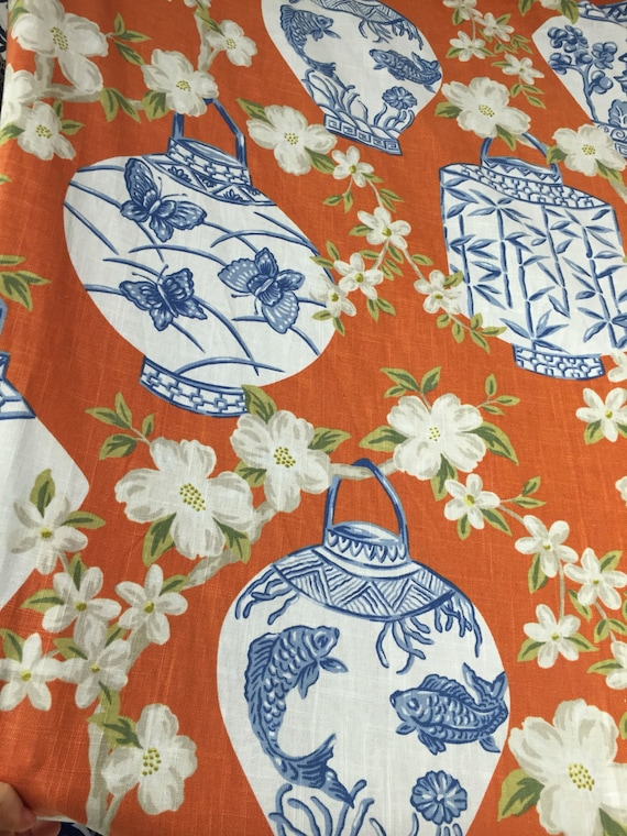 Blue Orange Chinoiserie Asian Lanterns Upholstery