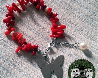 """""""Butterfly"""" Red coral bracelet"""