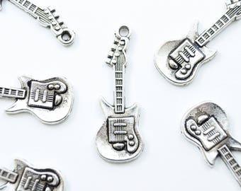 Guitar Charm, Silver Electric Guitar Pendant, 13mm - 10 pieces (313)