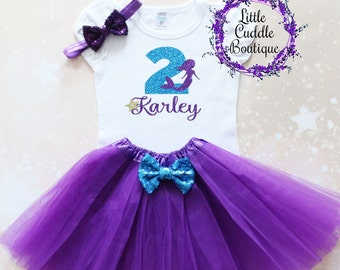 Personalized Toddler Mermaid Birthday Outfit, Toddler Girl Outfit, Under The Sea Birthday, Mermaid Party, Seashell Birthday Outfit, Mermaid