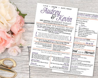 Printable Wedding Program | Wedding Programs | Print Your Own wedding program | program Digital file | printable wedding program