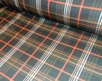 Brown Plaid Fabric Warm Tartan clothes fabric by the meter
