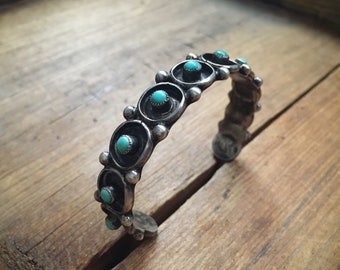 1940 50s Silver Turquoise Cuff Bracelet for Small Wrist, Native American Jewelry