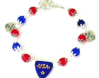 Red, white and blue bracelet, patriotic bracelet, Czech glass and crystal bracelet, July 4th bracelet, Independence Day