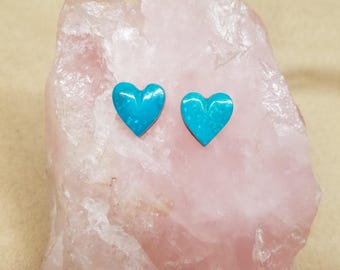 Blue Sonora Turquosie Heart Cabochon Pair/ backed