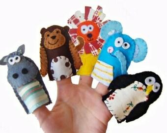 Zoo Animals Finger Puppets / Felt Children's Puppet / Kids Toys / Christmas Stocking Filler / Hippo / Monkey / Lion / Elephant / Penguin
