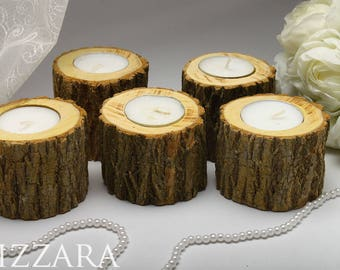 Wedding Decoration Wood 5 Candle holders Tree Branch Candle Holders rustic candle Wood Rustic Home Decor Candle Holder wedding decor rustic