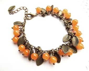 Brass Leaf Bracelet Orange jade bracelet Nature Lover Gift Botanical Jewelry Boho Leaf Bracelet Fall leaf jewelry Autumn Bracelet Mori Kei