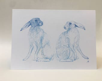 Two Blue Hares Greeting Card
