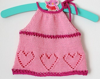 Knitting Pattern (PDF file) Sweet Hearts Baby Top (sizes 3 months up 4 years)