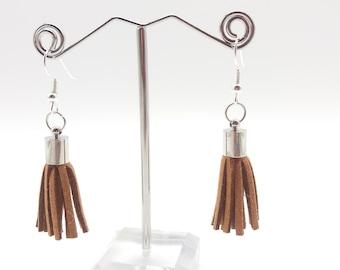 Brown Fringe Dangle Earrings