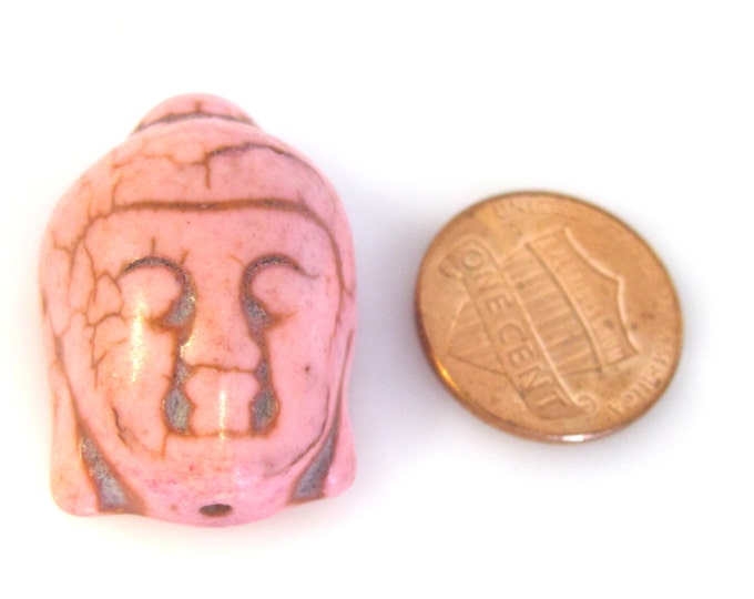 1 Bead - Pink color turquoise howlite Buddha bead- BD921