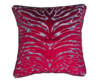 Christian Lacroix - red velvet tiger print square pillow