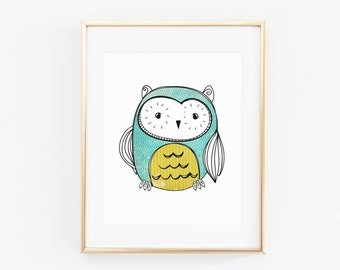 8x10 Owl Printable Art Print, Owl Nursery Art, Vintage Inspired Wall Art, Doodle Printable, Owl Decor, Nursery Printable, Instant Download