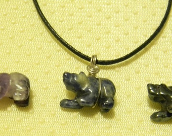 Gemstone Bear Necklace