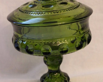 Vintage Indiana Glass King's Crown Olive Green Covered, Footed Compote