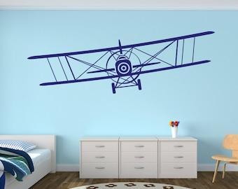 Airplane Wall Decal - Biplane Decal - Baby Room Plane Decor - Nursery Wall Decals Vinyl
