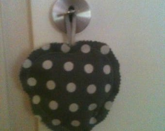 """Adorable heart fabric is brand """"gray with white dots"""""""