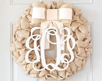 BEST SELLING - Monogram Wreath, Initial Wreath, Spring Wreath for Front Door Wreaths, Spring Wreath, Farmhouse Wreath