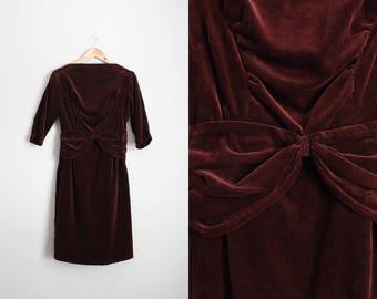 50s Bourgogne Dress / 60s Burgundy VELVET Party Dress / 50s Dress / Mid Century / Bow Dress / Holiday Dress /Size XS/S