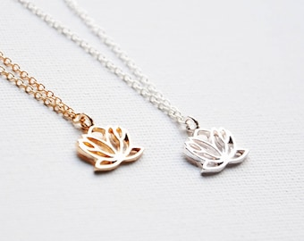 Gold lotus necklace etsy lotus necklace silver lotus flower gold lotus pendant flower necklace wedding jewelry audiocablefo