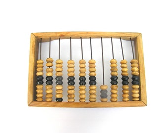 Abacus Soviet vintage abacus Wooden abacus Primitive calculator Gift for bookkeeper Rustic farmhouse decor Old school supplies