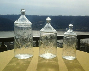 Vintage Bicentennial 1776-1976 Americana Eagle Stars Emblem Clear Pressed Glass Apothecary Canister Set of 3