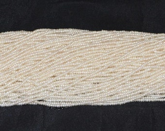 "White Freshwater Pearl 2mm Seed Beads - 16"" Strand"