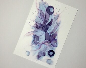 Digital printable art. Abstract fish print, purple, blue Digital Download