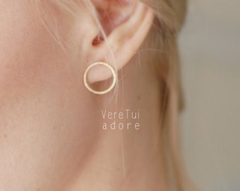 Minimalist Circle Ring Gold Earrings