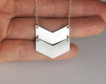 Chevron Necklace, Geometric Necklace, Arrow Necklace, Handmade Necklace, Sterling Silver, Christmas Gift, Birthday Gift