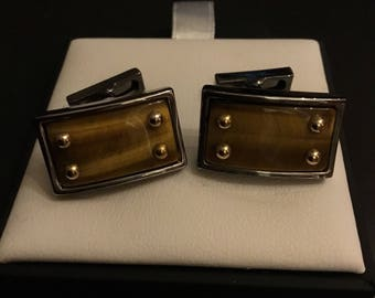 Kenneth Cole Rectangular Golden Brown Cufflinks