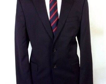 euc Ralph Lauren Navy Blue 100% Wool Men's Blazer Sportcoat sz 42 L