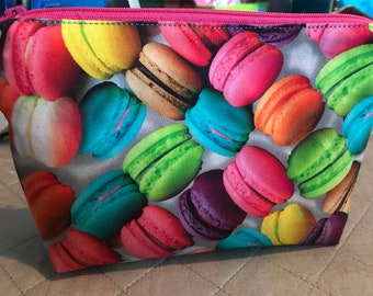 Macaroon with Blue Glitter Vinyl wristlet - ready to ship