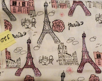 Eiffel Tower Fabric, Pink Fabric, Cotton Fabric, Clothing Fabric, Sewing Fabric, Quilting Fabric, Crafting fabric, Apparel Fabric, #320