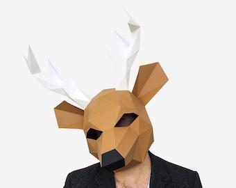 Deer Mask, Paper Mask, Animal Mask, DIY Animal Head, Instant Pdf download, DIY  Paper Mask, 3D Polygon Masks, Printable Mask