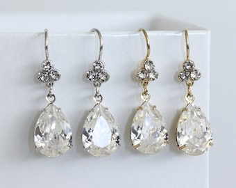 Bridal Earrings Swarovski Crystal Teardrop Earrings Simple Wedding Earrings Gold or Silver Bridesmaid Earrings Wedding Jewelry JANE