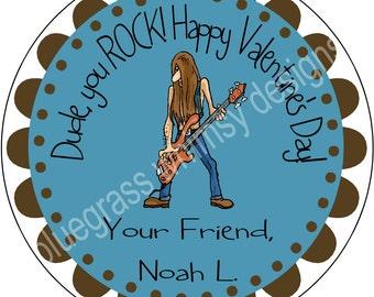 """2.5"""" Round Sticker for Goodie Bag- Boy Valentine, Dude you Rock"""