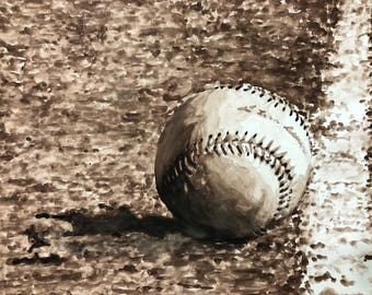 "Original 18""x24"" Baseball Watercolor Painting - Valentine's Day Gift for Him for Husband - Modern Living Room Decor - Office Mancave Decor"