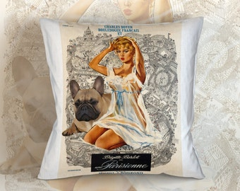 French Bulldog Art Pillow Case Throw Pillow - La Parisienne Movie Poster  Perfect DOG LOVER Gift for Her Gift for Him