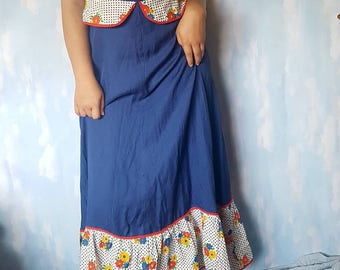 90's blue floral hem floor length dress