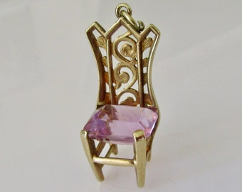 Vintage 9ct Gold Amethyst Chair Charm