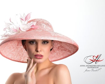 "Royal ascot/Hat for horse racing/Pink hat with broad brim ""Tenderness""/Kentucky derby hats/Royal ascot hats/Hat for holidays/Evening hat"