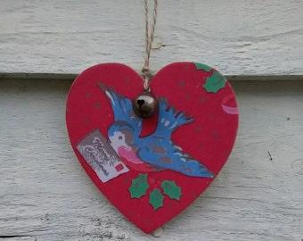 Christmas Decoration, hanging heart, jingle bell, Decoupaged heart, tree decoration, heart, bird, vintage bird, Cath Kidston