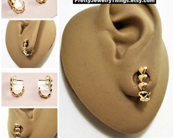 Avon Heart Band Hoop Pierced Stud Earrings Gold Tone Vintage 1985 Small Curved Drop Ear Cuffs Surgical Steel Posts