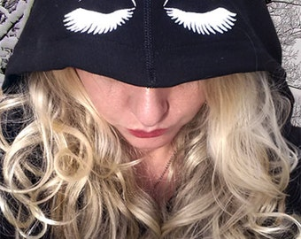 Women's Ask Me About My Lashes Jacket hoodies with Eye Lashes on Hood XS S M L XL XXL
