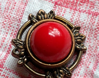 Vintage Red Clip On Earrings with Brass Tone Filigree