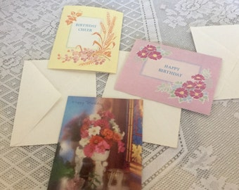 Vintage Religious Birthday Cards and Envelopes / Vintage Charitable Floral Cards by the Good Samaritans
